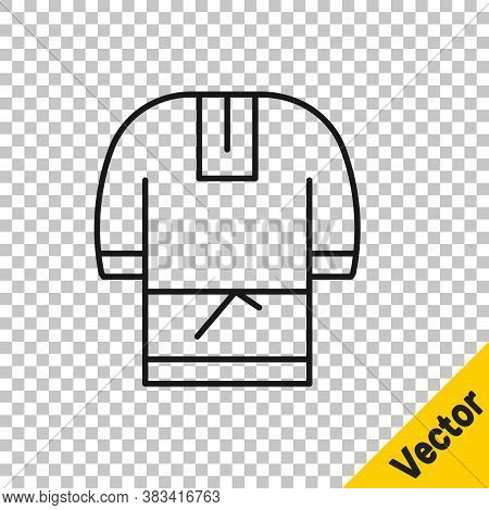 Black Line Kosovorotka Is A Traditional Russian Shirt Icon Isolated On Transparent Background. Tradi