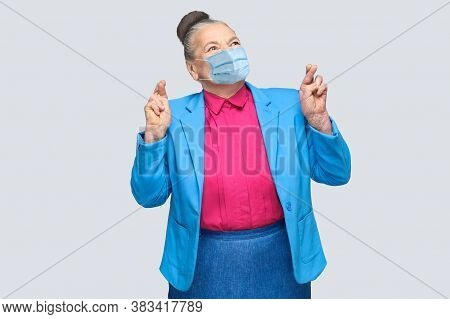 Happiness Woman With Surgical Medical Mask Crossed Fingers And Wish