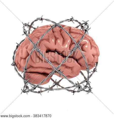 Free Thought, Censorship, Freedom Of Speech 3d Concept - Human Brain Under Barbwire Over White Backg