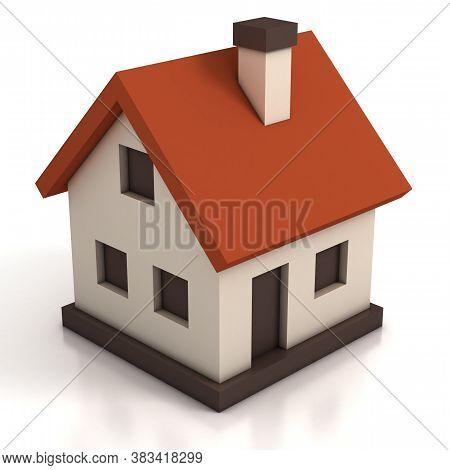 House Icon On White Background 3d Illustration