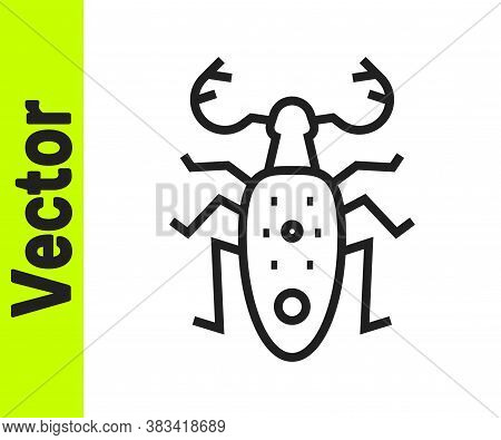 Black Line Beetle Deer Icon Isolated On White Background. Horned Beetle. Big Insect. Vector