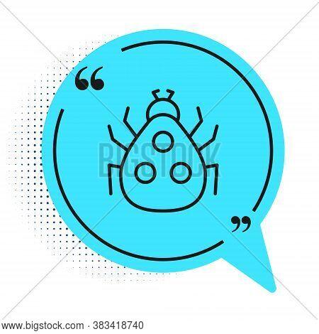 Black Line Ladybug Icon Isolated On White Background. Blue Speech Bubble Symbol. Vector