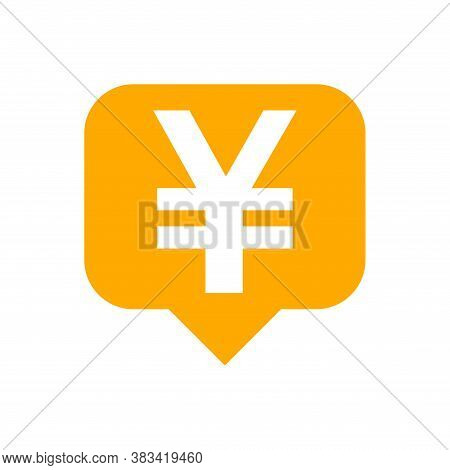 Yen Currency Symbol In Speech Bubble Square Shape For Icon, Orange Yen Money For App Symbol Isolated
