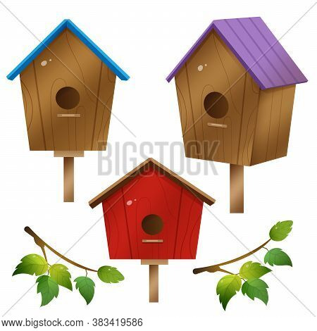 Color Images Of Cartoon Birdhouses On White Background. Birds. Vector Illustration Set For Kids.