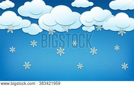 Clouds With Snowflakes. Blue Sky With Snowy Clouds And Falling Snowflakes. Winter Background Templat