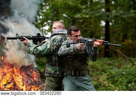 angry militant guerrilla soldier warrior in forest