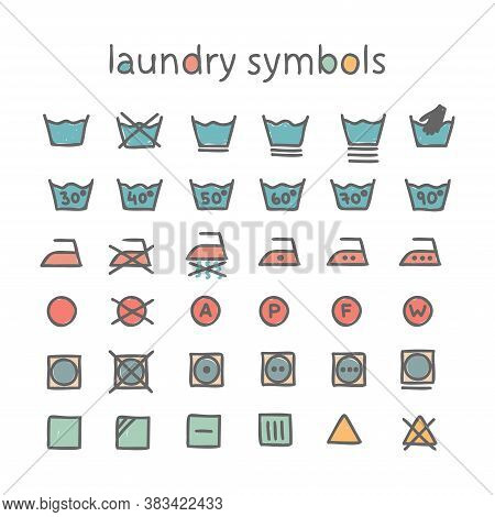 Vector Set Of Laundry Symbols. Garment Care, Recommendations For Clothing Labels. Laundry, Ironing,