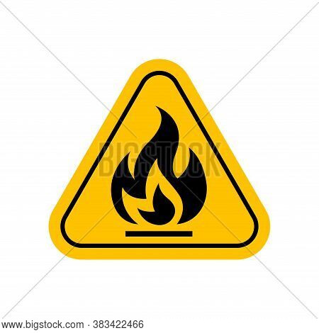 Flammable Materials Warning Sign, Caution Fire Sign Yellow, Gas Hazard Symbol, Attention Fire Hazard
