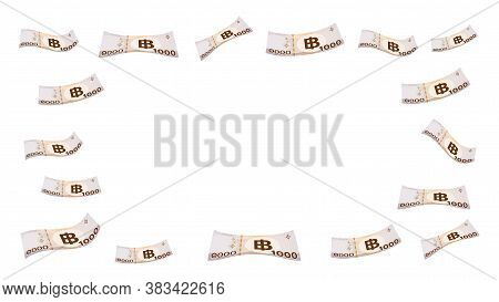 1000 Baht Thai Money Flying Isolated On White Background, Banknote Money Falling On White, For Banne