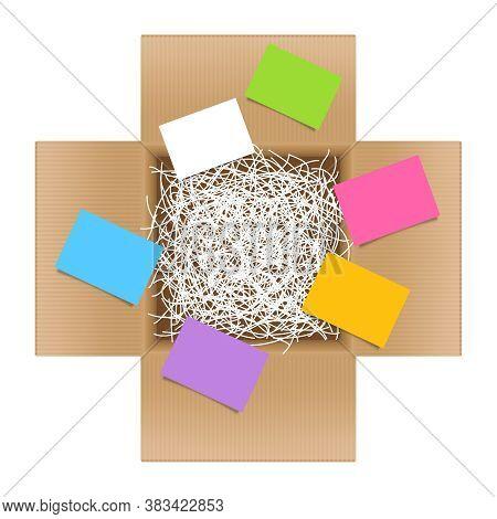 White Shredded Paper In Cardboard Box Brown Open And Paper Note Sheet, Shredded Paper In Box Brown T