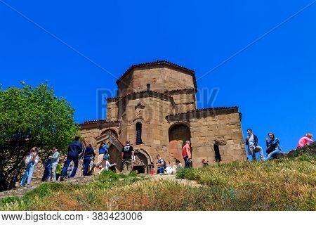 Mtskheta, Georgia - May 1, 2018: View On The Jvari Monastery, Orthodox Monastery Of The 6th Century