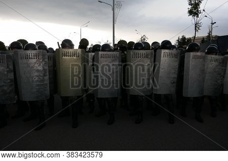 Minsk, Belarus - August 30, 2020. Police With Shields. Peaceful Protest Actions Against The Current