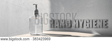 Hand hygiene banner sign for corona virus prevention - proper measures to keep clean hands with alcohol gel rub hand sanitiser on panoramic background.