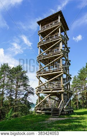 High Observation Tower Of Wooden Beams Construction