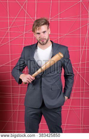 Threatening Violence. Aggressive Business Strategy. Businessman Formal Elegant Suit Pink Background.