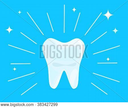 Cartoon Healthy Bright Shining Tooth. Concept Of Dental Health Care, Cleaning Teeth, Whitening, Cari