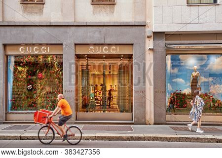 Showcase Of A Fashion Store Clothing Gucci. Milan Italy 08.2020