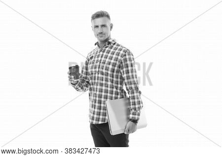 Your Online Coffee Break. Tech Worker Hold Takeaway Cup And Laptop. Enjoying Coffee Or Tea. Computer