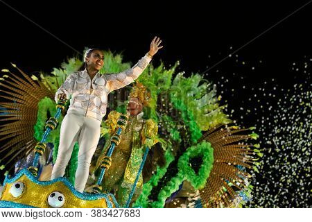 Rio, Brazil - February 22, 2020: Parade Of The Samba School Inocentes De Belford Roxo, At The Marque