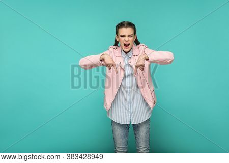 Here And Now. Serious Bossy Portrait Of Beautiful Cute Girl Standing With Makeup And Brown Pigtail H