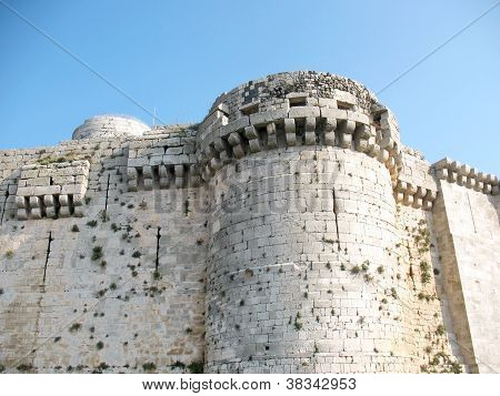 Wall And Tower Of The Medieval Crusaders Fortress
