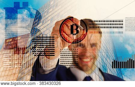 Create Bitcoin Wallet. Mining Crypto Currency Bitcoin. Solve Block Earn Profit. Blockchain Technolog