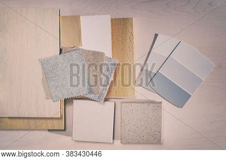 Interior design home DIY improvement remodeling designer. Scandinavian colors trends shades palette choice for renovation remodel of kitchen, bathroom, furniture decoration. Fabric swatches.