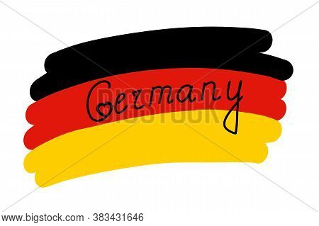Flag Of Germany, Stylized Vector Illustration With Freehand Text Country Name Inside The Flag. Black
