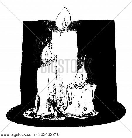 Hand Drawn Graphic Vector Burning Candles On White Background. Black And White Objects Of Different