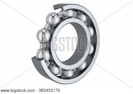 Ball Bearing, Cutaway. 3d Rendering Isolated On White Background