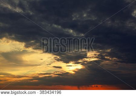 Cinematic Dark Clouds Before Storm . Dramatic Sky In The Twilight