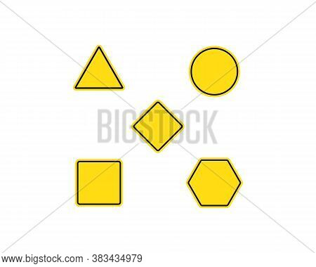 Blank Warning Sign Templates Set. Traffic Signs. Triangle, Square Or Rhombus, Round And Rectangle Sh