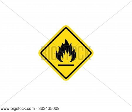 Flammable Materials Warning Sign. Fire Warning Sign In Yellow Triangle. Inflammable Substances Icon.