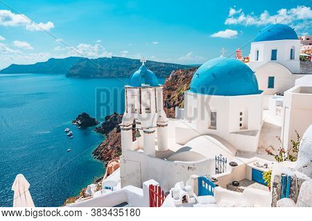 Greece island of Santorini, famous Europe travel destination. Greek village landscape.