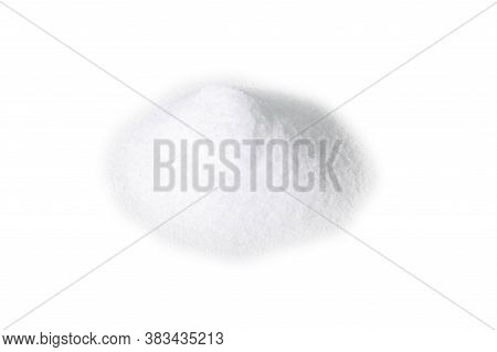 Heap Of Erythritol Isolated On White Background. Front Views. Sugar Substitute On White Background.