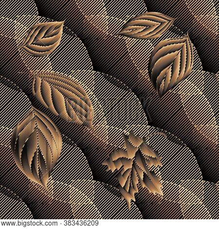 Autumn Leaves 3d Seamless Pattern. Grunge Texture. Ornamental Geometric Vector Background With Falli