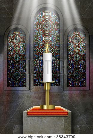 Church Stained Glass Windows With Lit Candle