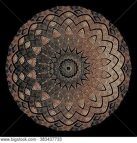 Copper Textured 3d Greek Mandala Pattern. Vector Floral Background. Ornate Patterned Backdrop. Greek