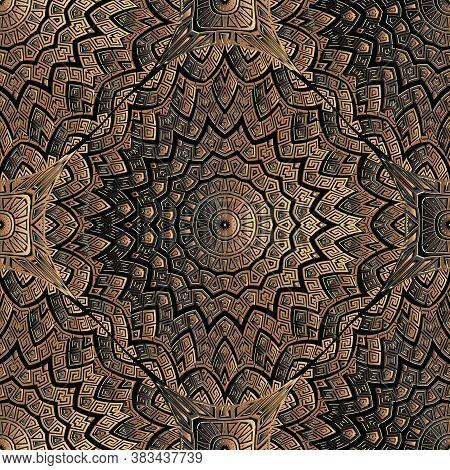 Copper Textured 3d Greek Seamless Pattern. Vector Mandalas Background. Ornate Repeat Metal Backdrop.