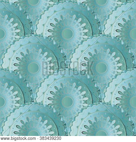 Deco Floral 3d Mandalas Seamless Pattern. Vector Ornamental Ethnic Style Background. Repeat Patterne