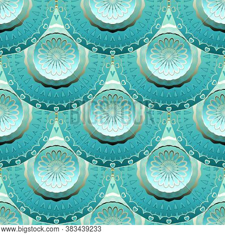 3d Floral Mandalas Seamless Pattern. Vector Ornamental Ethnic Style Deco Background. Repeat Patterne