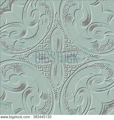 Floral Embossed 3d Seamless Pattern. Vector Vintage Textured Background. Repeat Grunge Backdrop. Mod