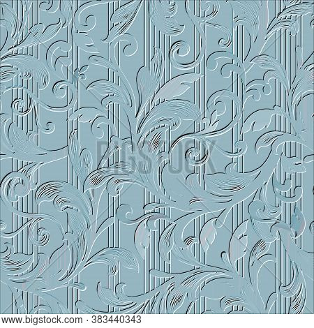 Baroque Embossed Seamless Pattern. Vector Floral Textured Background. Vintage Beautiful Ornaments Wi