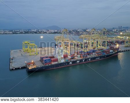Butterworth, Penang/malaysia - Nov 08 2019: Container Ship In Dusk Hour.