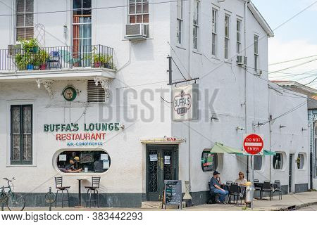 New Orleans, Louisiana/usa - 8/19/2020: Front Of Buffa's Lounge Restaurant In The Faubourg Marigny N
