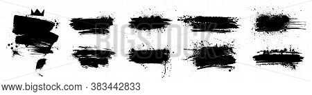 Liquid Paintbrush Set. Isolated Black Ink Stains And Brush Marks With Dirty Stains. Grunge Silhouett