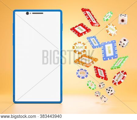The Dice And Gambling Chips Flying In The Air Next To The Blue Mobile Phone On An Orange Background.