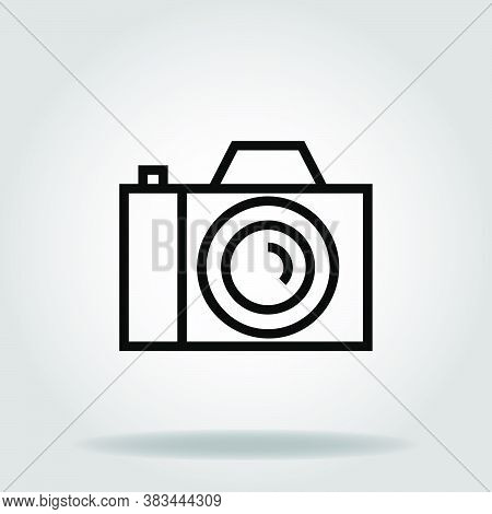 Logo Or Symbol Of Dslr Camera Icon With Black Line Style