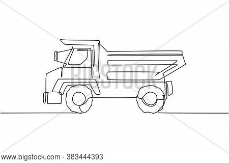 Single Continuous Line Drawing Of Big Dump Truck For Delivery Coal Mining. Haul Truck, Business Vehi