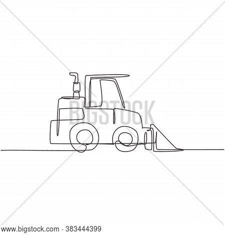 One Single Line Drawing Of Bulldozer  For Road Repair, Business Commercial Vehicles Vector Illustrat